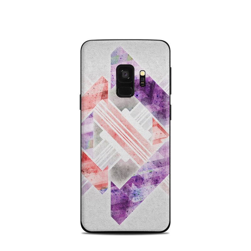 Samsung Galaxy S9 Skin design of Pink, Purple, Lavender, Violet, Lilac, Design, Pattern, Triangle, Illustration, Paper with gray, purple, red, white colors