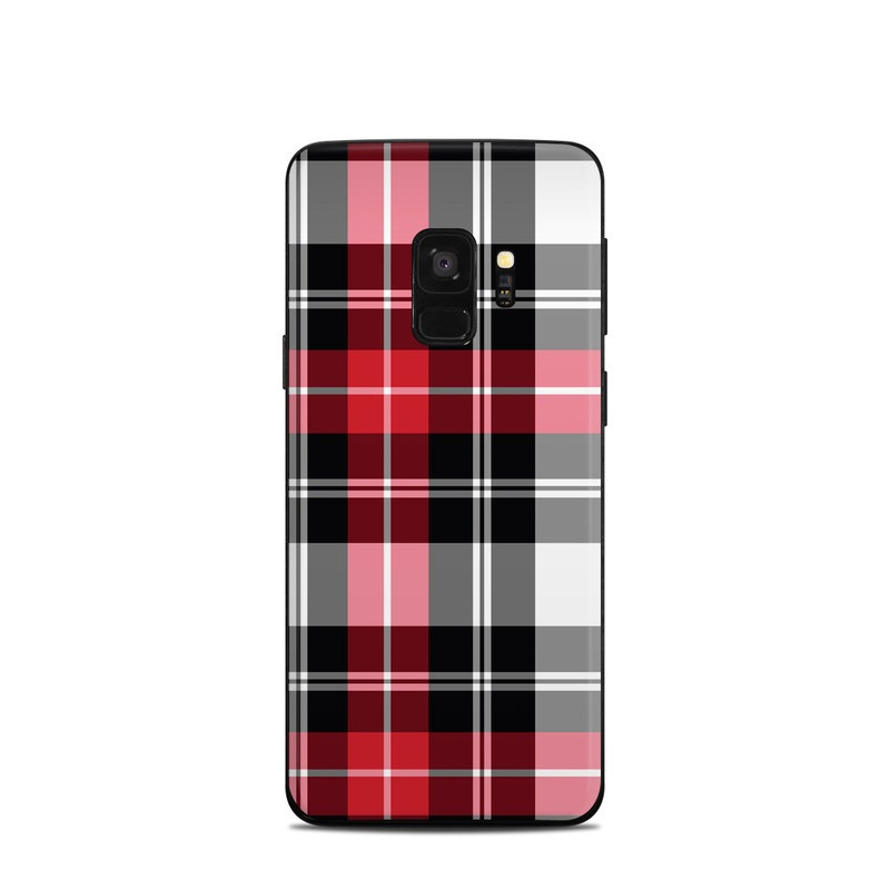 Samsung Galaxy S9 Skin design of Plaid, Tartan, Pattern, Red, Textile, Design, Line, Pink, Magenta, Square with black, gray, pink, red, white colors