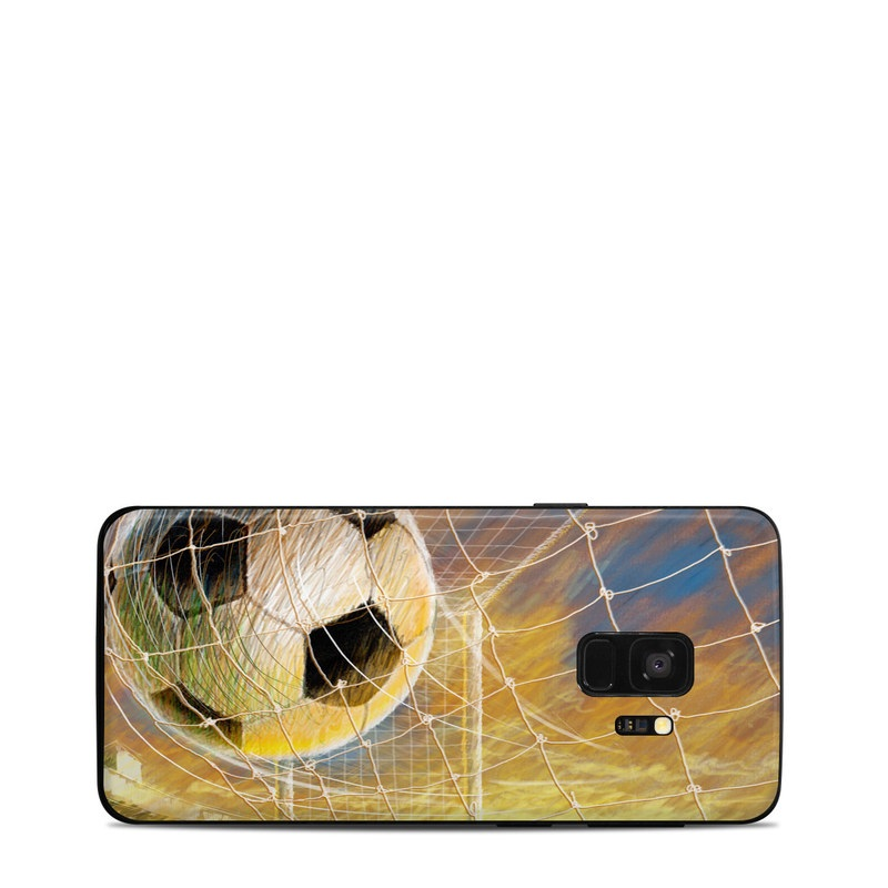 Samsung Galaxy S9 Skin design of Ball, Soccer ball, Football, Goal, Eye, Net, Space, World with gray, green, black, red, pink, blue colors