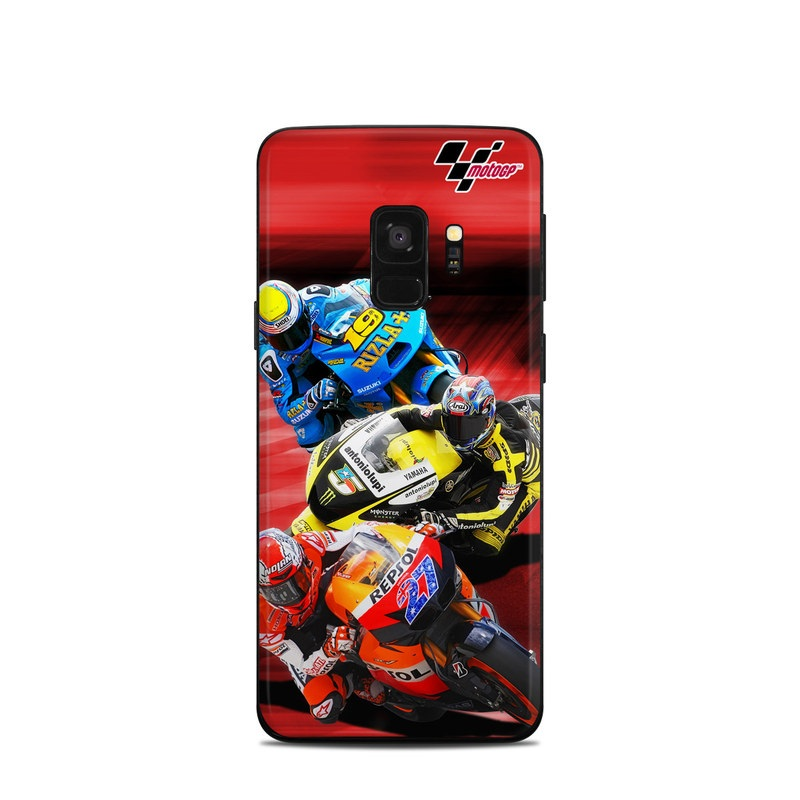 Samsung Galaxy S9 Skin design of Helmet, Motorcycle helmet, Motorcycle racer, Grand prix motorcycle racing, Superbike racing, Motorsport, Personal protective equipment, Road racing, Motorcycle racing, Race track with black, red, gray, blue, green colors