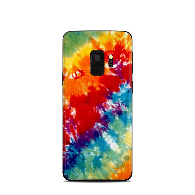 Samsung Galaxy S9 Skin design of Orange, Watercolor paint, Sky, Dye, Acrylic paint, Colorfulness, Geological phenomenon, Art, Painting, Organism with red, orange, blue, green, yellow, purple colors