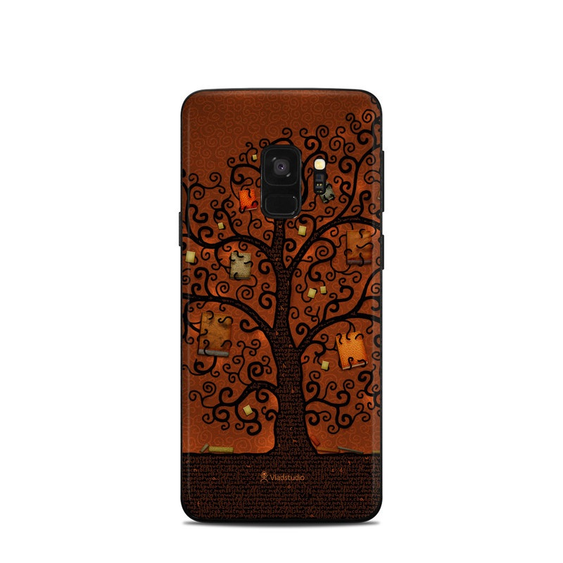 Samsung Galaxy S9 Skin design of Tree, Brown, Leaf, Plant, Woody plant, Branch, Visual arts, Font, Pattern, Art with black colors