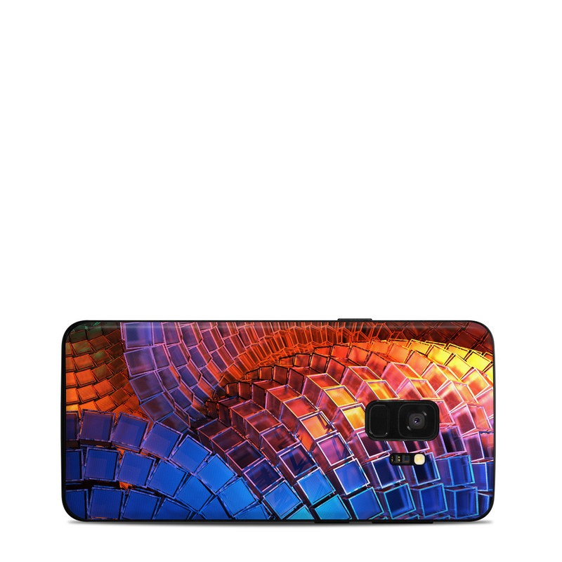 Samsung Galaxy S9 Skin design of Blue, Red, Orange, Light, Pattern, Architecture, Design, Fractal art, Colorfulness, Psychedelic art with black, red, blue, purple, gray colors
