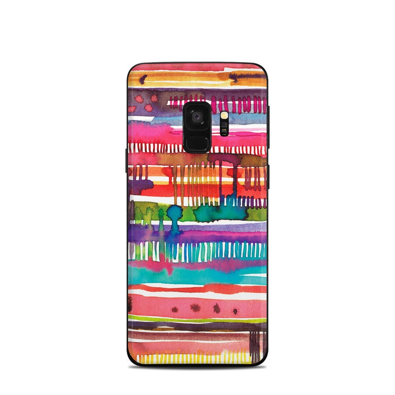 Samsung Galaxy S9 Skin design of Textile, Art, Magenta, Hair accessory with white, red, orange, yellow, green, blue, purple, brown, pink colors