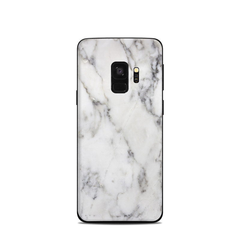 Samsung Galaxy S9 Skin design of White, Geological phenomenon, Marble, Black-and-white, Freezing with white, black, gray colors