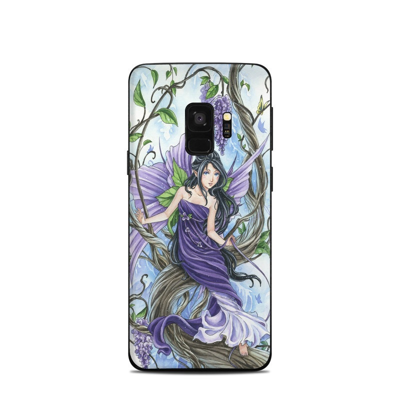 Samsung Galaxy S9 Skin design of Cg artwork, Fictional character, Purple, Illustration, Plant, Anime, Mythical creature, Art, Mythology with gray, black, purple, blue, white colors
