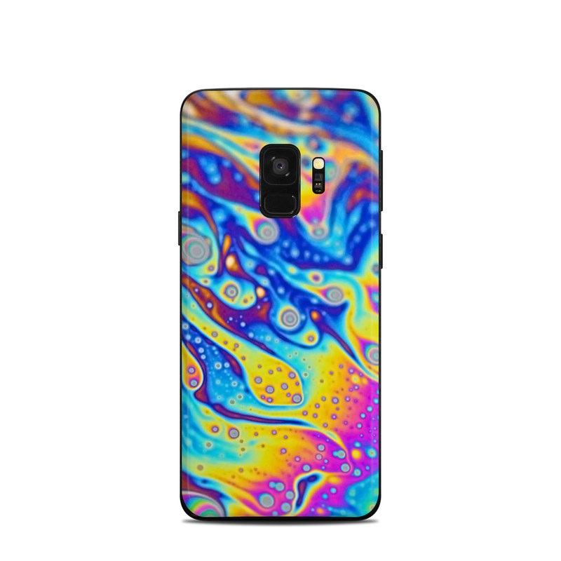 Samsung Galaxy S9 Skin design of Psychedelic art, Blue, Pattern, Art, Visual arts, Water, Organism, Colorfulness, Design, Textile with gray, blue, orange, purple, green colors