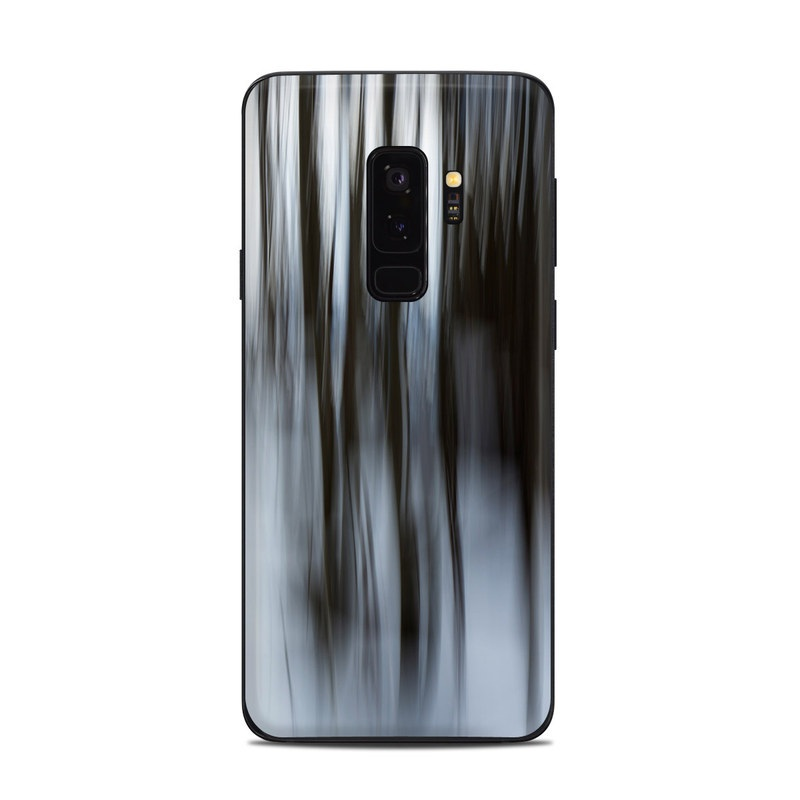 Samsung Galaxy S9 Plus Skin design of Water, Blue, Natural environment, Tree, Forest, Line, Waterfall, Plant, Black-and-white, Reflection with black, white, blue colors