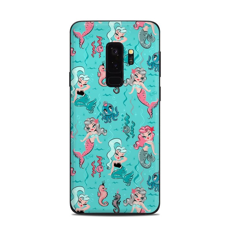 Samsung Galaxy S9 Plus Skin design of Turquoise, Wrapping paper, Cartoon, Pattern, Textile, Aqua, Design, Gift wrapping, Illustration, Fictional character with blue, pink, yellow, gray colors