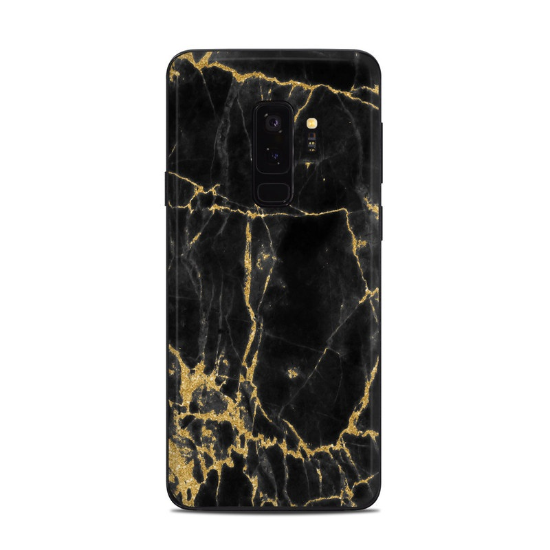 Samsung Galaxy S9 Plus Skin design of Black, Yellow, Water, Brown, Branch, Leaf, Rock, Tree, Marble, Sky with black, yellow colors
