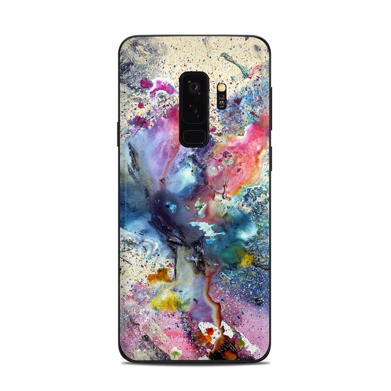 Samsung Galaxy S9 Plus Skin design of Watercolor paint, Painting, Acrylic paint, Art, Modern art, Paint, Visual arts, Space, Colorfulness, Illustration with gray, black, blue, red, pink colors