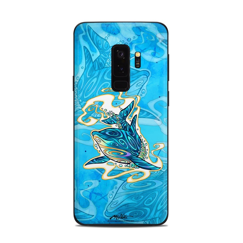 Samsung Galaxy S9 Plus Skin design of Dolphin, Aqua, Marine mammal, Cetacea, Illustration, Common dolphins, Bottlenose dolphin, Short-beaked common dolphin, Electric blue, Art with blue, gray, white, black colors