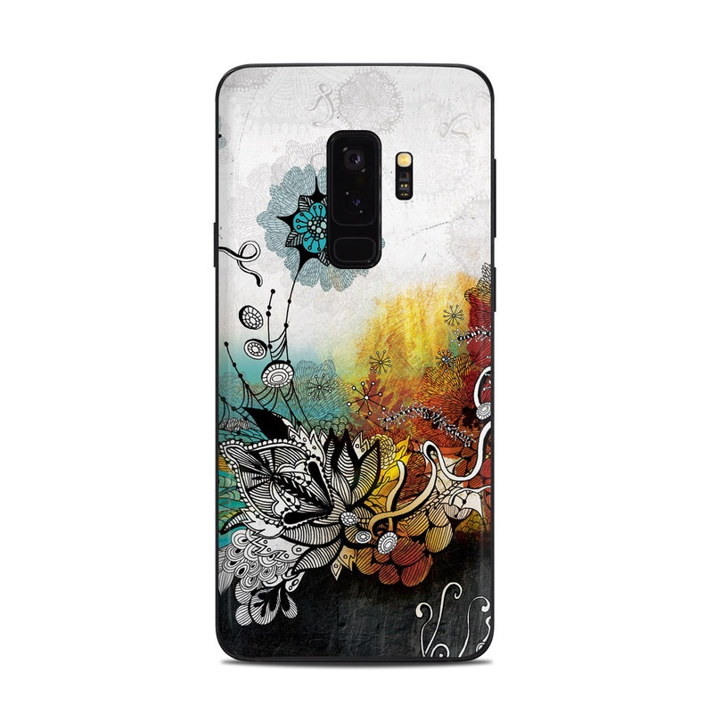 Samsung Galaxy S9 Plus Skin design of Graphic design, Illustration, Art, Design, Visual arts, Floral design, Font, Graphics, Modern art, Painting with black, gray, red, green, blue colors