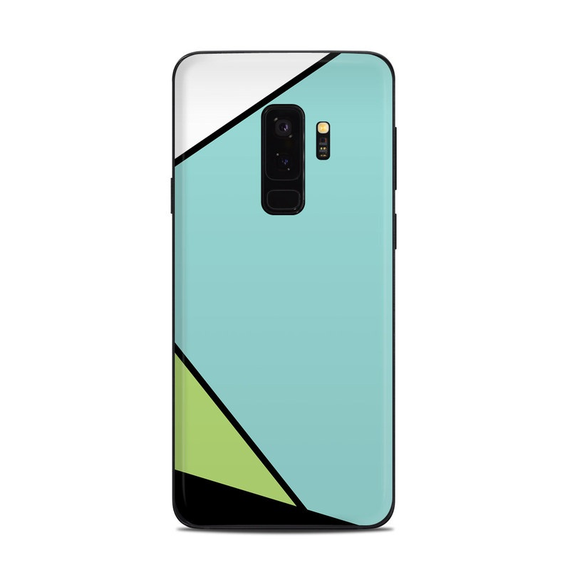 Samsung Galaxy S9 Plus Skin design of Green, Line, Blue, Triangle, Design, Parallel, Pattern, Graphic design, Slope with white, black, green, blue colors