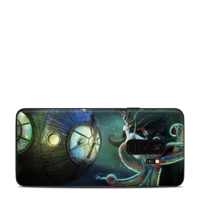 Samsung Galaxy S9 Plus Skin design of Cg artwork, Illustration, Art, Fictional character, Fiction, Space, Fractal art, Graphic design, Mythology, Graphics with black, gray, blue, green colors