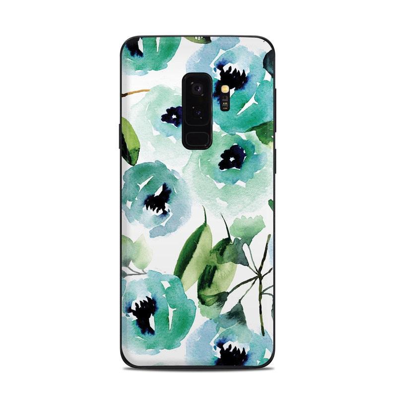 Samsung Galaxy S9 Plus Skin design of Green, Pattern, Leaf, Aqua, Plant, Design, Branch, Organism, Flower, Ivy with white, green, blue, black colors