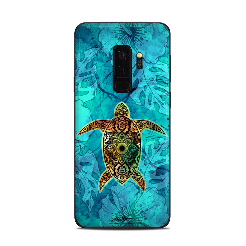 Samsung Galaxy S9 Plus Skin design of Sea turtle, Green sea turtle, Turtle, Hawksbill sea turtle, Tortoise, Reptile, Loggerhead sea turtle, Illustration, Art, Pattern with blue, black, green, gray, red colors