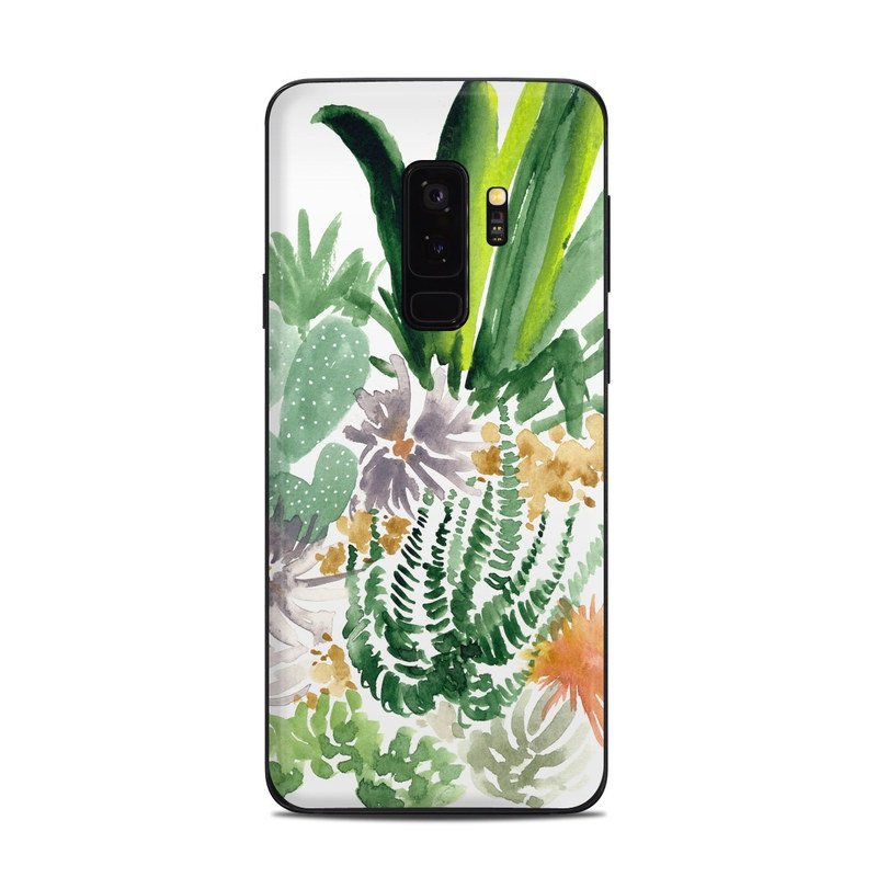 Samsung Galaxy S9 Plus Skin design of Cactus, Plant, Flower, Botany, Leaf, Illustration, Pine, Grass, Succulent plant, Branch with white, green, red, orange colors