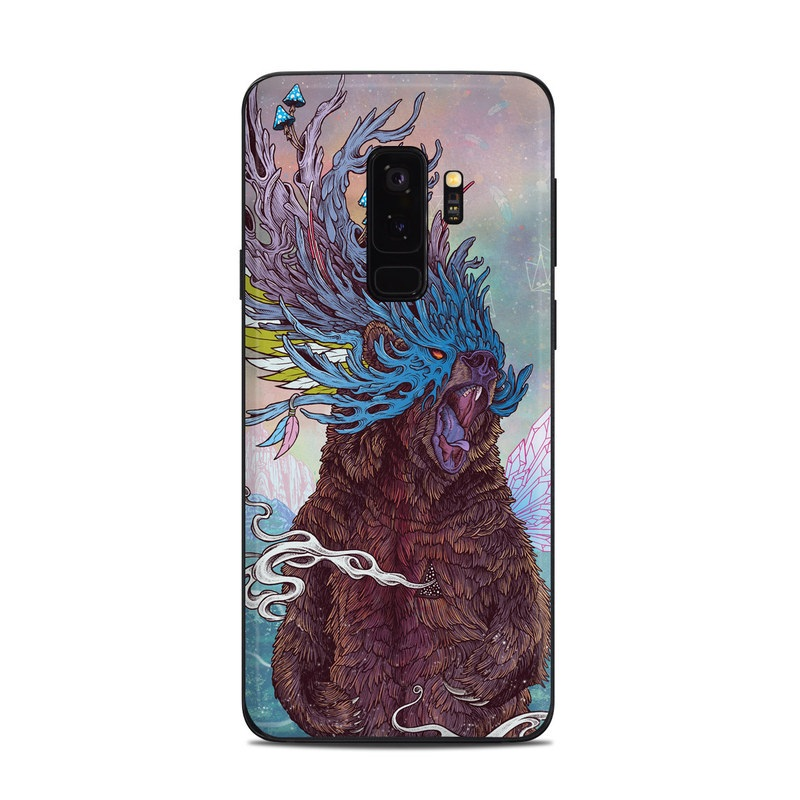 Samsung Galaxy S9 Plus Skin design of Illustration, Art, Fictional character, Painting, Cryptid, Cg artwork with blue, purple, pink, gray, pink, brown colors