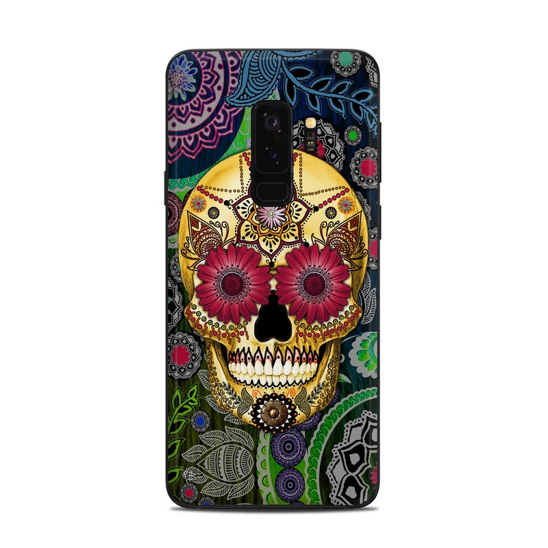 Samsung Galaxy S9 Plus Skin design of Skull, Bone, Pattern, Psychedelic art, Visual arts, Design, Illustration, Art, Textile, Plant with black, red, gray, green, blue colors