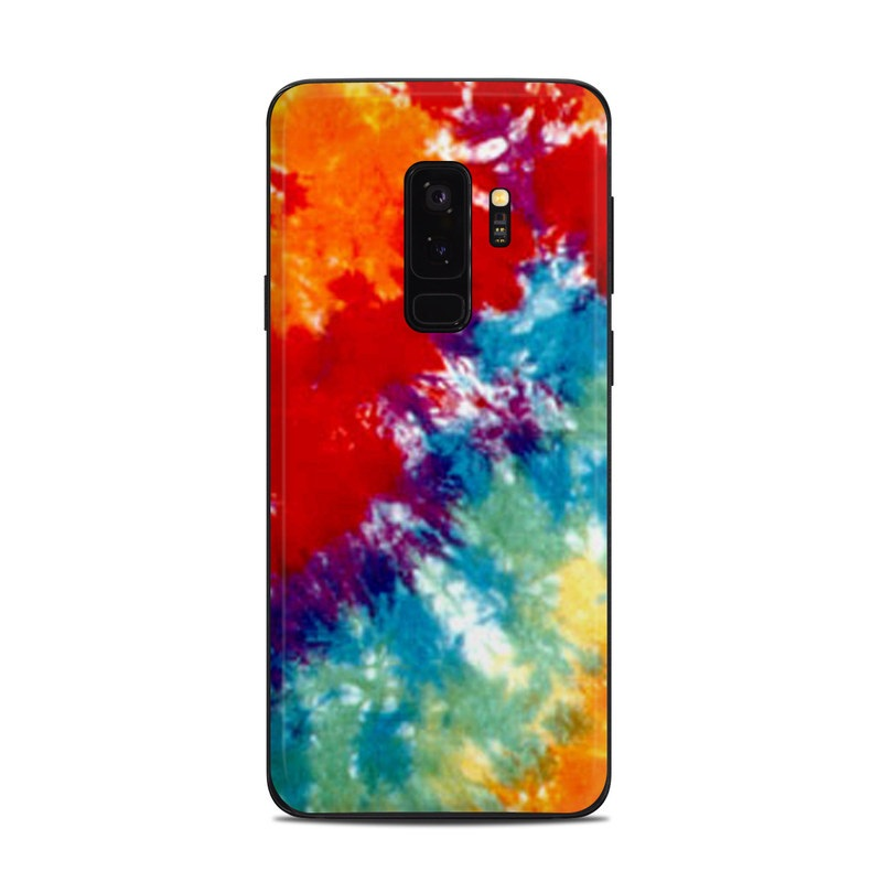 Samsung Galaxy S9 Plus Skin design of Orange, Watercolor paint, Sky, Dye, Acrylic paint, Colorfulness, Geological phenomenon, Art, Painting, Organism with red, orange, blue, green, yellow, purple colors
