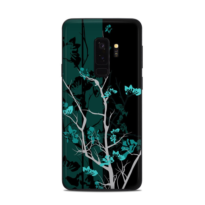 Samsung Galaxy S9 Plus Skin design of Branch, Black, Blue, Green, Turquoise, Teal, Tree, Plant, Graphic design, Twig with black, blue, gray colors