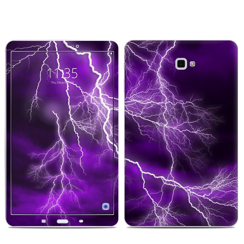 Samsung Galaxy Tab A 10.1 Skin design of Thunder, Lightning, Thunderstorm, Sky, Nature, Purple, Violet, Atmosphere, Storm, Electric blue with purple, black, white colors