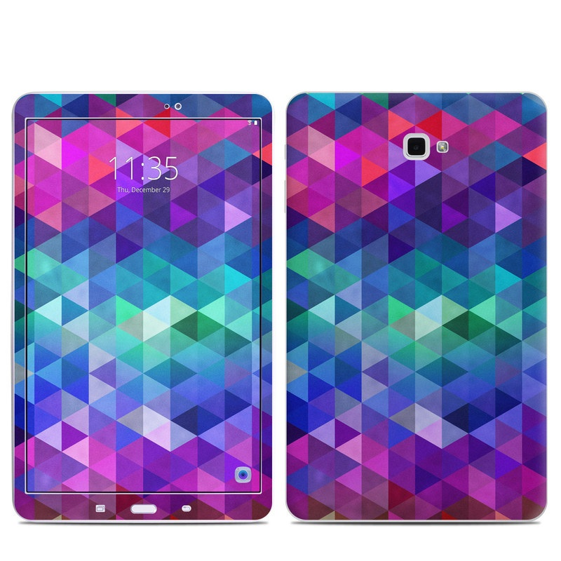Samsung Galaxy Tab A 10.1 Skin design of Purple, Violet, Pattern, Blue, Magenta, Triangle, Line, Design, Graphic design, Symmetry with blue, purple, green, red, pink colors