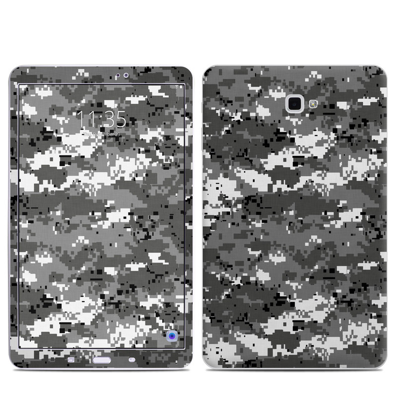 Samsung Galaxy Tab A 10.1 Skin design of Military camouflage, Pattern, Camouflage, Design, Uniform, Metal, Black-and-white with black, gray colors