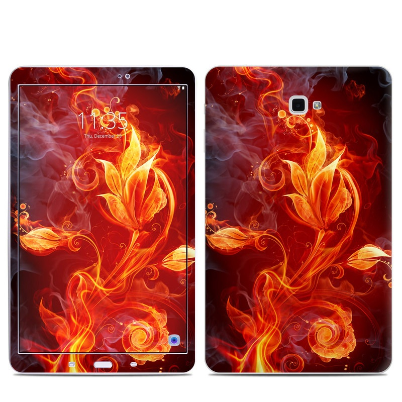 Samsung Galaxy Tab A 10.1 Skin design of Flame, Fire, Heat, Red, Orange, Fractal art, Graphic design, Geological phenomenon, Design, Organism with black, red, orange colors