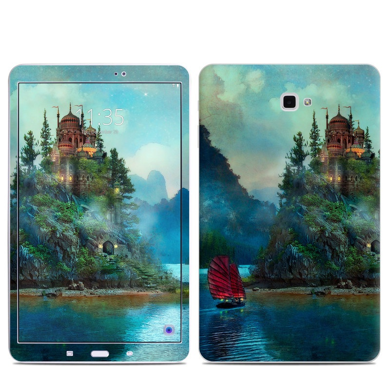 Samsung Galaxy Tab A 10.1 Skin design of Nature, Natural landscape, Sky, Painting, Landscape, Illustration, Watercolor paint, Art, Calm, Water castle with black, gray, blue, green colors