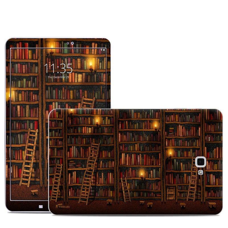 Samsung Galaxy Tab A 10.1 Skin design of Shelving, Library, Bookcase, Shelf, Furniture, Book, Building, Publication, Room, Darkness with black, red colors