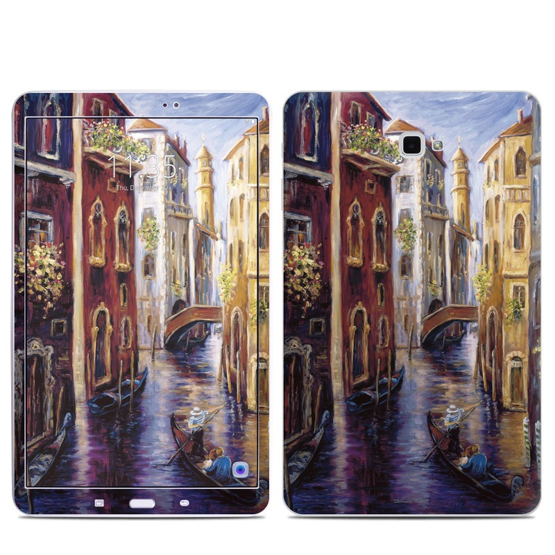 Samsung Galaxy Tab A 10.1 Skin design of Painting, Watercolor paint, Waterway, Gondola, Canal, Art, Modern art, Acrylic paint, Visual arts, Building with black, gray, red, green, blue, pink colors