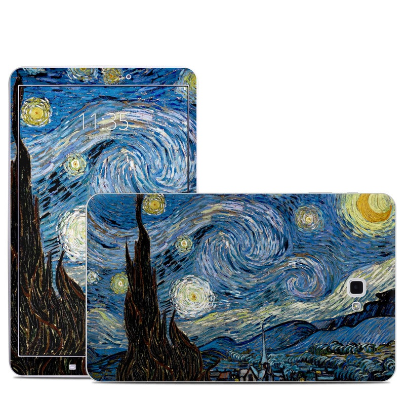 Samsung Galaxy Tab A 10.1 Skin design of Painting, Purple, Art, Tree, Illustration, Organism, Watercolor paint, Space, Modern art, Plant with gray, black, blue, green colors