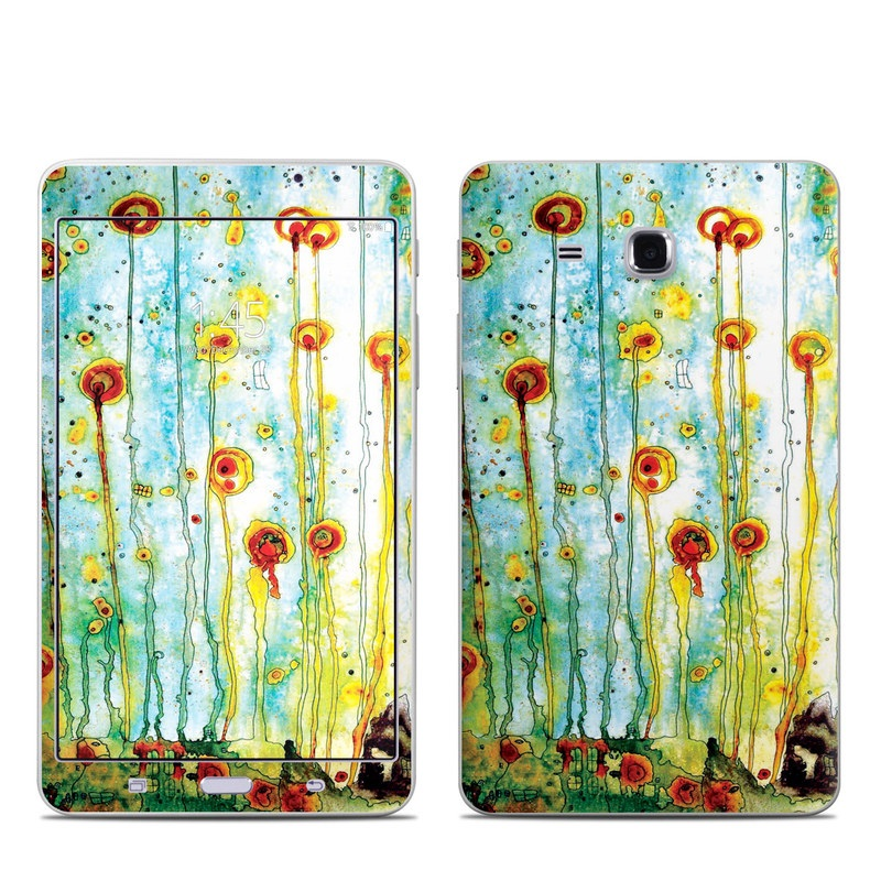 Samsung Galaxy Tab A 7.0 Skin design of Watercolor paint, Painting, Wildflower, Child art, Botany, Art, Plant, Modern art, Flower, Tree with green, orange, red, blue colors