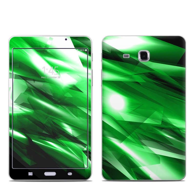 Samsung Galaxy Tab A 7.0 Skin design of Green, Light, Lighting, Leaf, Design, Technology, Space, Graphics, Graphic design, Illustration with black, green, white colors