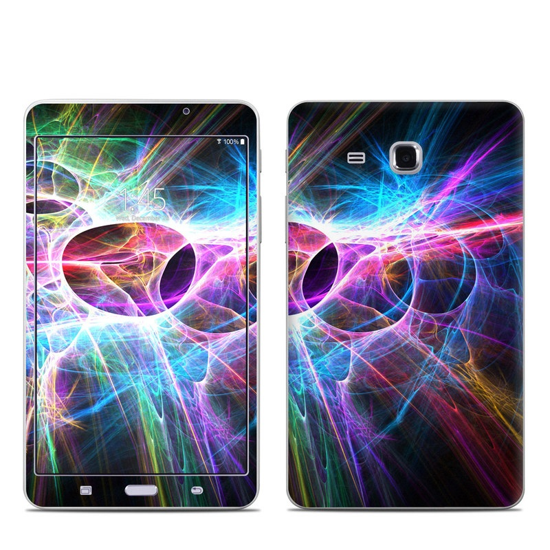 Samsung Galaxy Tab A 7.0 Skin design of Fractal art, Light, Pattern, Purple, Graphic design, Design, Colorfulness, Electric blue, Art, Neon with black, gray, blue, purple colors