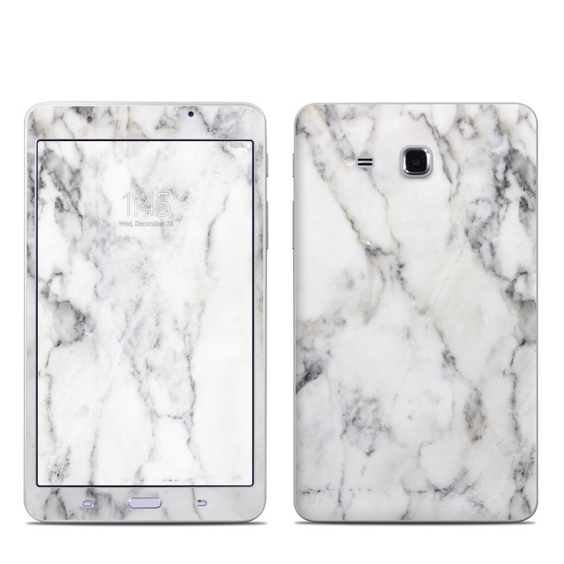 Samsung Galaxy Tab A 7.0 Skin design of White, Geological phenomenon, Marble, Black-and-white, Freezing with white, black, gray colors