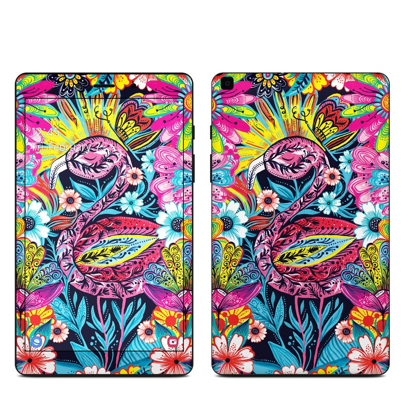Samsung Galaxy Tab A 8.0 2019 Skin design of Psychedelic art, Pattern, Visual arts, Art, Design, Textile, Illustration, Plant, Graphic design, Drawing with pink, yellow, black, blue, white colors