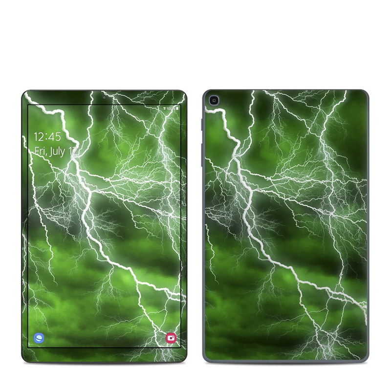 Samsung Galaxy Tab A 2019 10.1 Skin design of Thunderstorm, Thunder, Lightning, Nature, Green, Water, Sky, Atmosphere, Atmospheric phenomenon, Daytime with green, black, white colors