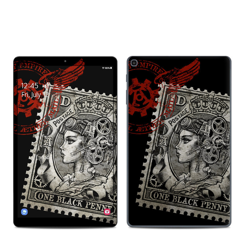 Samsung Galaxy Tab A 2019 10.1 Skin design of Font, Postage stamp, Illustration, Drawing, Art with black, gray, red colors