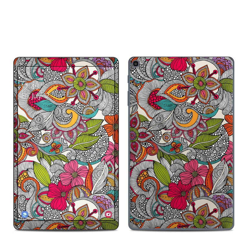 Samsung Galaxy Tab A 2019 10.1 Skin design of Pattern, Drawing, Visual arts, Art, Design, Doodle, Floral design, Motif, Illustration, Textile with gray, red, black, green, purple, blue colors
