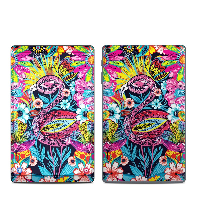 Samsung Galaxy Tab A 10.1 2019 Skin design of Psychedelic art, Pattern, Visual arts, Art, Design, Textile, Illustration, Plant, Graphic design, Drawing with pink, yellow, black, blue, white colors