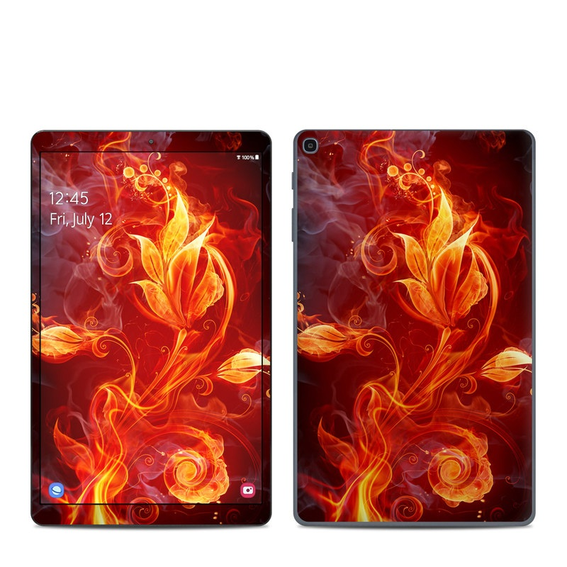 Samsung Galaxy Tab A 10.1 2019 Skin design of Flame, Fire, Heat, Red, Orange, Fractal art, Graphic design, Geological phenomenon, Design, Organism with black, red, orange colors