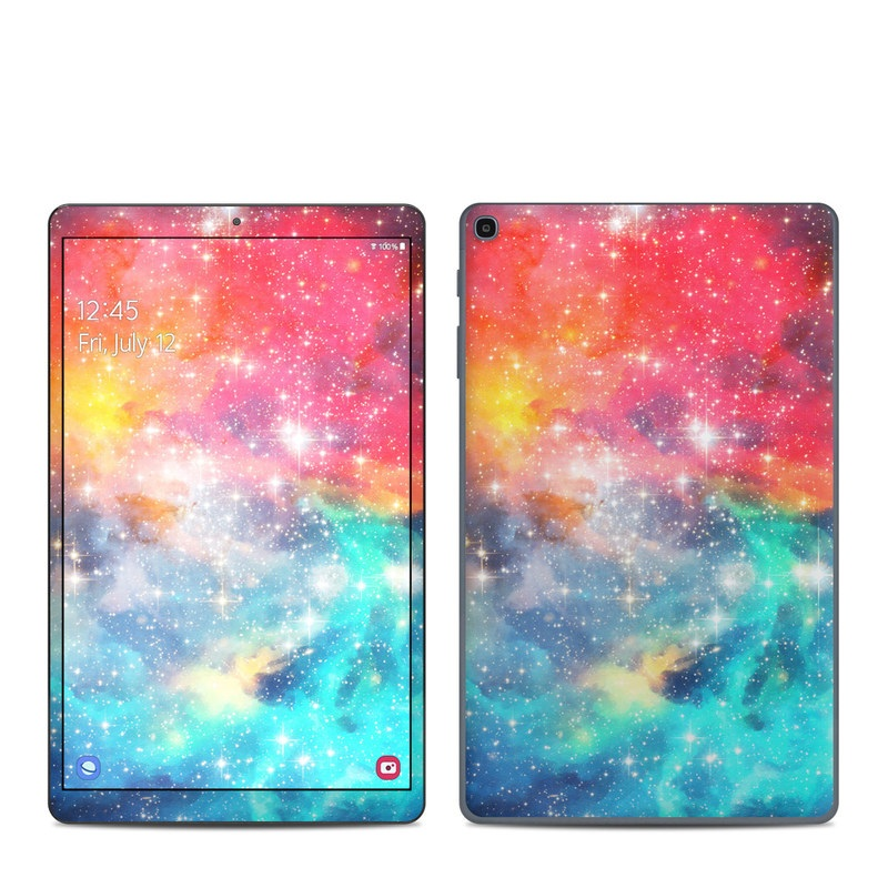 Samsung Galaxy Tab A 2019 10.1 Skin design of Nebula, Sky, Astronomical object, Outer space, Atmosphere, Universe, Space, Galaxy, Celestial event, Star with white, black, red, orange, yellow, blue colors