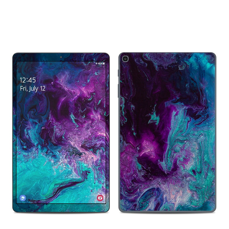 Samsung Galaxy Tab A 2019 10.1 Skin design of Blue, Purple, Violet, Water, Turquoise, Aqua, Pink, Magenta, Teal, Electric blue with blue, purple, black colors
