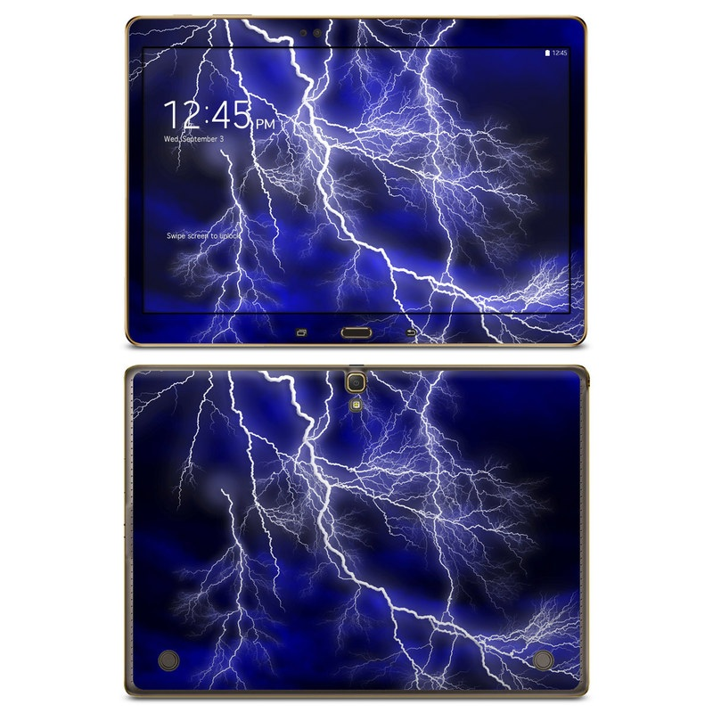 Samsung Galaxy Tab S 10.5 Skin design of Thunder, Lightning, Thunderstorm, Sky, Nature, Electric blue, Atmosphere, Daytime, Blue, Atmospheric phenomenon with blue, black, white colors
