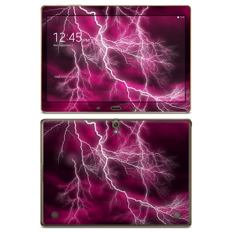 Samsung Galaxy Tab S 10.5 Skin design of Thunder, Lightning, Thunderstorm, Sky, Nature, Purple, Red, Atmosphere, Violet, Pink with pink, black, white colors