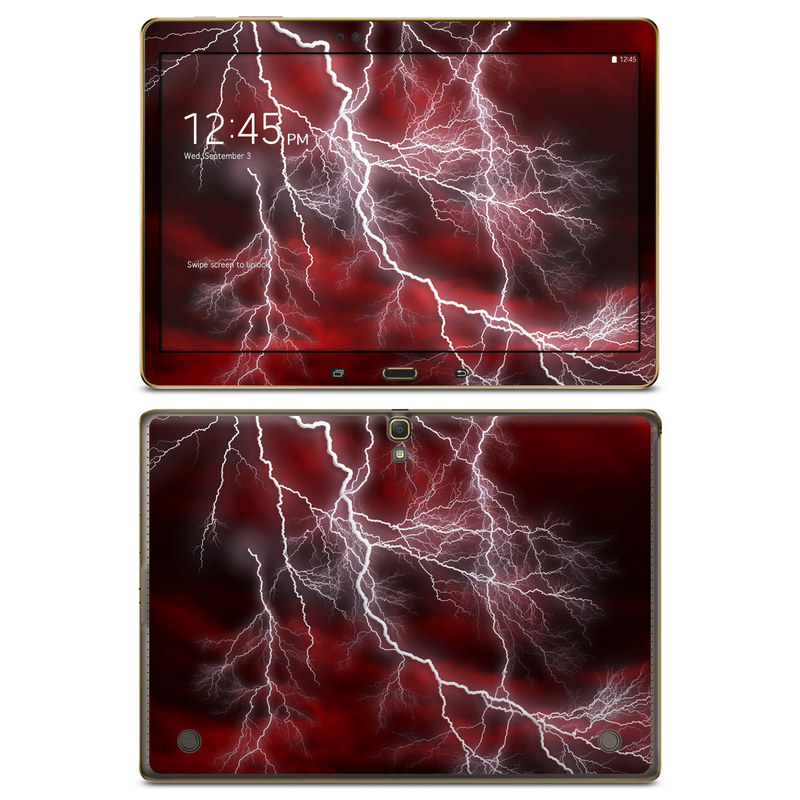 Samsung Galaxy Tab S 10.5 Skin design of Thunder, Thunderstorm, Lightning, Red, Nature, Sky, Atmosphere, Geological phenomenon, Lighting, Atmospheric phenomenon with red, black, white colors
