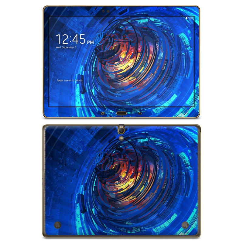 Samsung Galaxy Tab S 10.5 Skin design of Blue, Water, Circle, Vortex, Electric blue, Wave, Liquid, Graphics, Pattern, Colorfulness with blue, orange, yellow colors